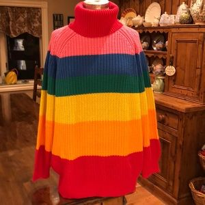 a196465af539 Lazy Oaf Sweaters - Lazy Oaf Rainbow Roll neck sweater